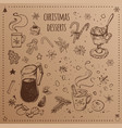 christmas food and desserts set hand drawn icons vector image