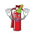 clown fire extinguisher mascot cartoon vector image