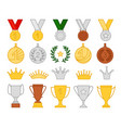 collection golden goblet and medal flat style vector image vector image