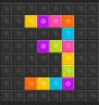 colorful brick block number 3 flat design vector image