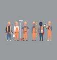 costruction workers team industrial technicians vector image