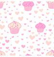 cupcakes pattern background cute bakery pattern vector image vector image
