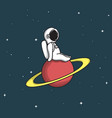 cute astronaut sits on saturn vector image vector image