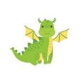 cute cartoon green little dragon isolated vector image