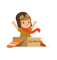 cute little boy in pilot costume playing kid vector image vector image