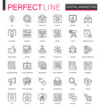 digital marketing thin line web icons set online vector image vector image
