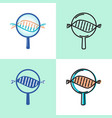 dna spiral research icon set in flat and line vector image vector image