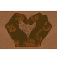 Element yoga mudra hands with mehndi patterns vector image vector image