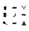 fast food menu icons set silhouette vector image