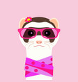 ferret girl portrait with pink glasses and scarff vector image vector image