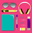 flat school set of stationery on the table vector image vector image