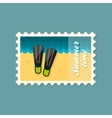 Flippers flat stamp summertime vector image vector image