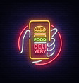 food delivery neon sign smartphone in hands vector image vector image