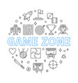game zone round in outline vector image vector image