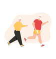 grandfather and grandmother jogging together vector image vector image
