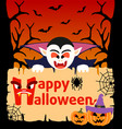 halloween background card with dracula vector image vector image