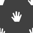 Hand icon sign Seamless pattern on a gray vector image