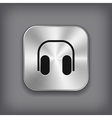 Headphones icon - metal app button vector image vector image
