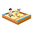 hildren play in the sandbox vector image vector image
