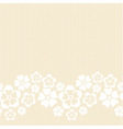 Horizontal white lacy flower border vector image