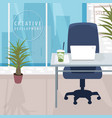 interior of workspace with city view in metropolis vector image vector image