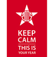 Keep calm poster with star and new year date vector image vector image