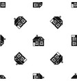large single-storey house pattern seamless black vector image vector image
