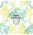 lemon tree seamless pattern hand drawn vector image vector image