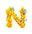 letter n hellish flames and sinners font fiery vector image vector image