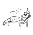 Lovely hand-drawn unicorn-girl sunbathing