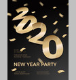 new year party invitation gold foil paper vector image