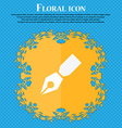 Pen icon Floral flat design on a blue abstract vector image