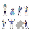 people holding jigsaw puzzle piece vector image vector image