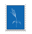 postage stamp with flower flat simple style for vector image