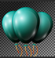 realistic dark jade balloons with ribbons isolated vector image