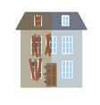 renovation building house before and after repair vector image vector image