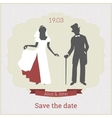 Save the date card template with bride and groom vector image