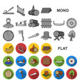 sawmill and timber flat icons in set collection vector image