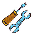 screwdriver and wrench color in hand drawing style vector image vector image
