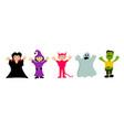 set cartoon cute characters for halloween vector image vector image