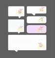 set of paper speech bubbles with cute girl vector image