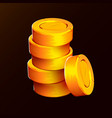 stack golden coins isolated on black background vector image vector image