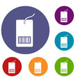 tag with bar code icons set vector image vector image