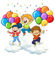 three happy kids with colorful balloons vector image vector image