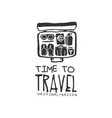 time to travel logo with traveler suitcase and vector image vector image