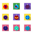 toys for a christmas tree flat icons in set vector image