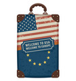 travel bag with flags of usa and eu vector image vector image