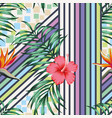 tropical leaves and flowers cold color vector image vector image