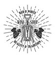 wine shop emblem with corkscrew and rays vector image vector image