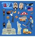 hand-drawn USA Landmarks set vector image